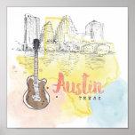 Austin, Aquarell-Skizze Texas | Poster
