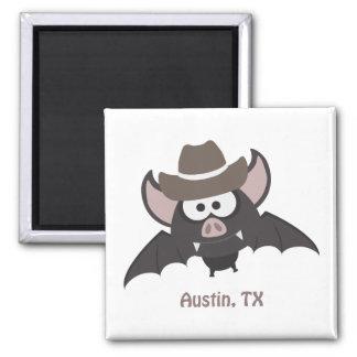 Austin, Texas - Cowboyschläger Quadratischer Magnet