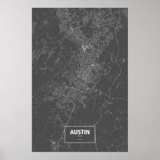 Austin, Texas (weiß auf Schwarzem) Poster