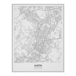 Austin, unbedeutendes Karten-Plakat Vereinigter Poster