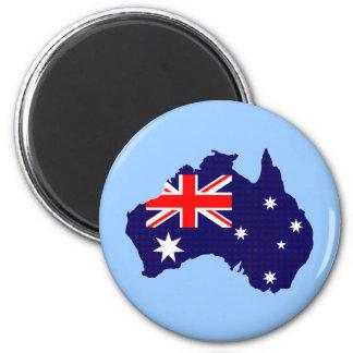 Australien-Kontur und -flagge Runder Magnet 5,1 Cm
