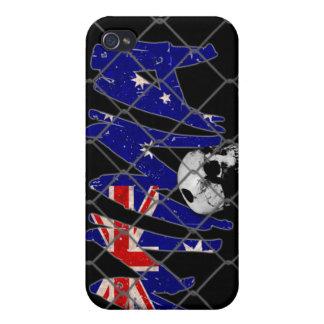 Australien-MIXED MARTIAL ARTS Schädel-Schwarzes iPhone 4 Etuis