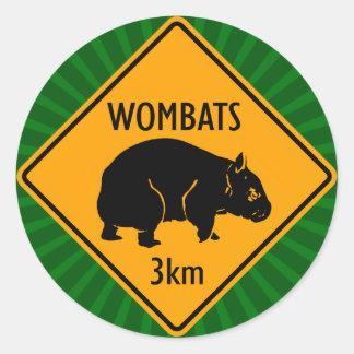 Australier Wombats Zeichen (Satz von 6/20) Runder Aufkleber