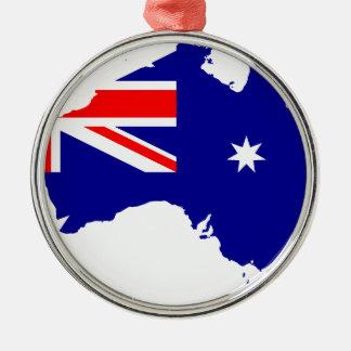Australische Flaggenkarte Silbernes Ornament