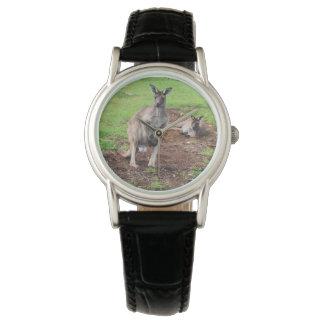 Australischer Dollar-Känguru, Damen-Leder-Uhr Uhr