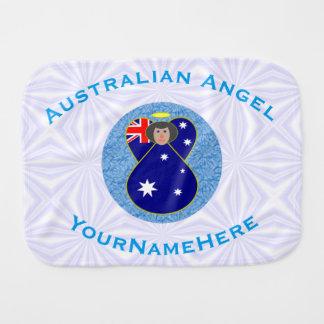 Australischer Engel auf weißem und blauem Squiggly Baby Spucktuch