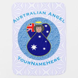 Australischer Engel auf weißem und blauem Squiggly Babydecken