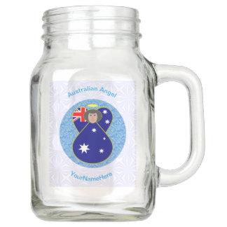 Australischer Engel auf weißem und blauem Squiggly Einmachglas