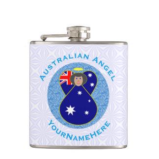 Australischer Engel auf weißem und blauem Squiggly Flachmann
