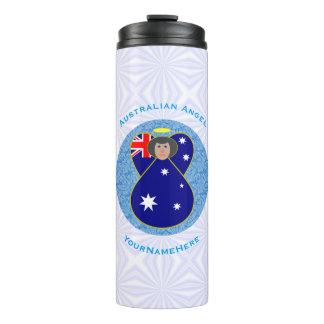 Australischer Engel auf weißem und blauem Squiggly Thermosbecher