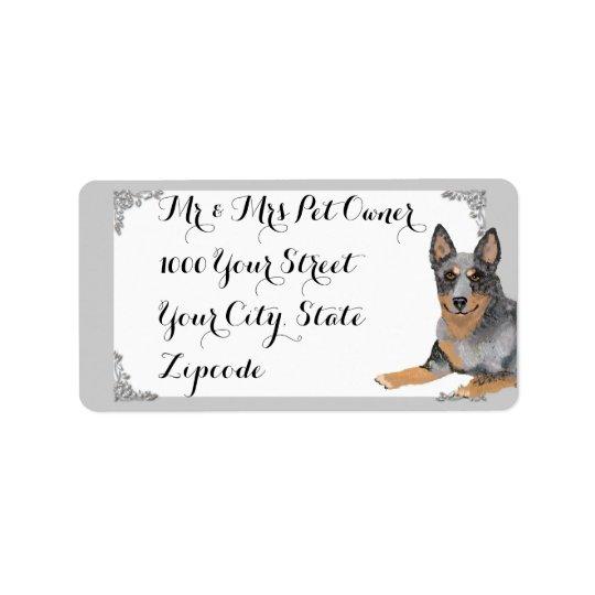 Australischer Vieh-Hund w/white und Silberentwurf Adressetikett