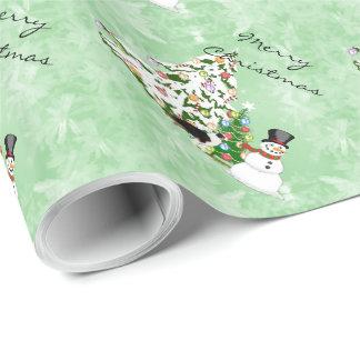 Australisches Schäfer-Weihnachten mit Schneemann Geschenkpapierrolle