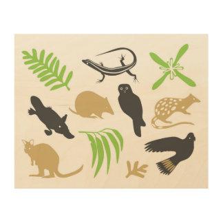 Australisches Tierwand-Kunstgrün Holzleinwand