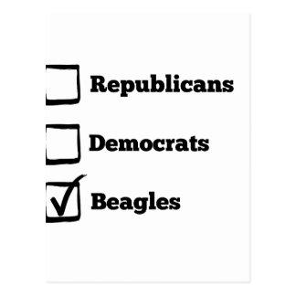 Auswahl-Beagles! Politischer Beagle-Druck Postkarte