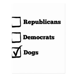 Auswahl-Hunde! Politischer Wahl-Hundedruck Postkarte