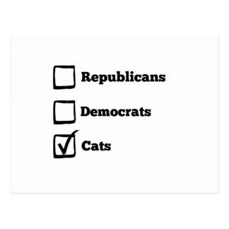 Auswahl-Katzen! Politischer Wahl-Katzen-Druck Postkarten