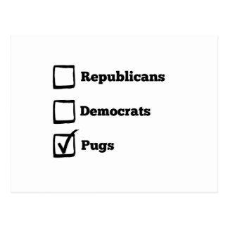 Auswahl-Möpse! Politischer Wahl-Mops-Druck Postkarte