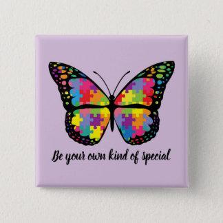 Autism Awareness Butterfly Puzzle Piece Quadratischer Button 5,1 Cm