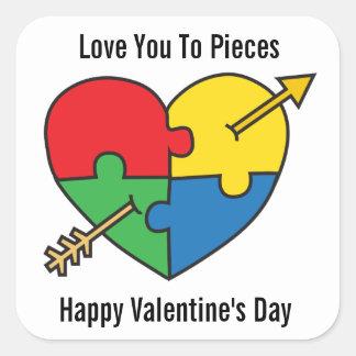 Autism Awareness Valentine's Day Puzzle Heart Quadratischer Aufkleber