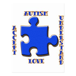 Autismus, Annahme, Liebe, versteht Postkarte