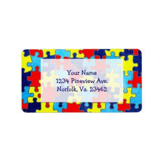 Autismus Bewusstsein-Puzzlespiel durch Shirley Adressaufkleber