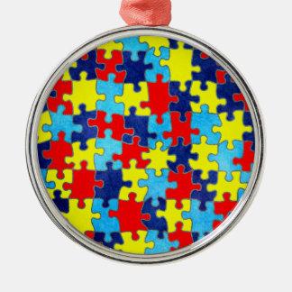 Autismus Bewusstsein-Puzzlespiel durch Shirley Silbernes Ornament