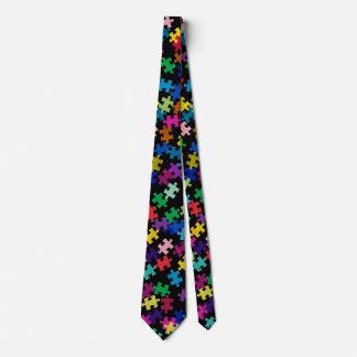 Autismus-Bewusstseins-Puzzlespiel-Muster-Schwarzes Individuelle Krawatten