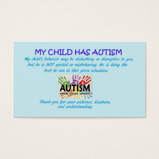 Autismus-Bewusstseinskarten Visitenkarte