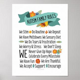 Autismus-Familien-Haus-Regeln Poster