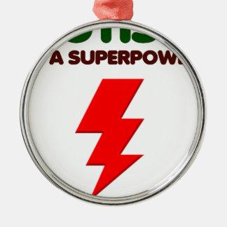 Autismus ist SuperPower, Kinder, Kinder, sich Rundes Silberfarbenes Ornament