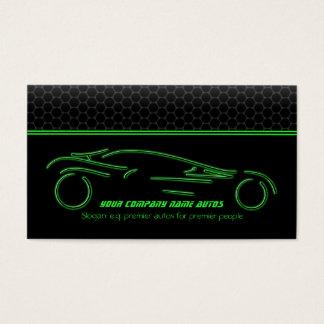 Auto-Auto auf metallischem - grüne Linie Sportscar Visitenkarte