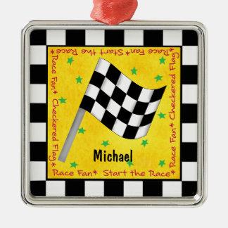 Auto-Rennen-Fan-Checkered Flaggen-Name Silbernes Ornament