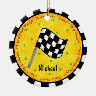 Auto-Rennen-Fan-Checkered Flaggen-Namen-Jahr Keramik Ornament