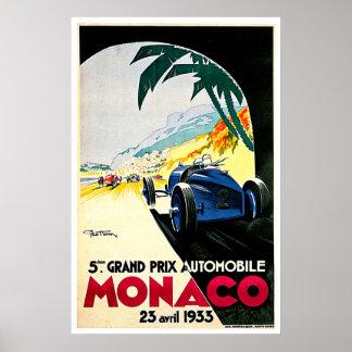 Auto-Rennen-Reise-Kunst Monacos Grandprix Poster