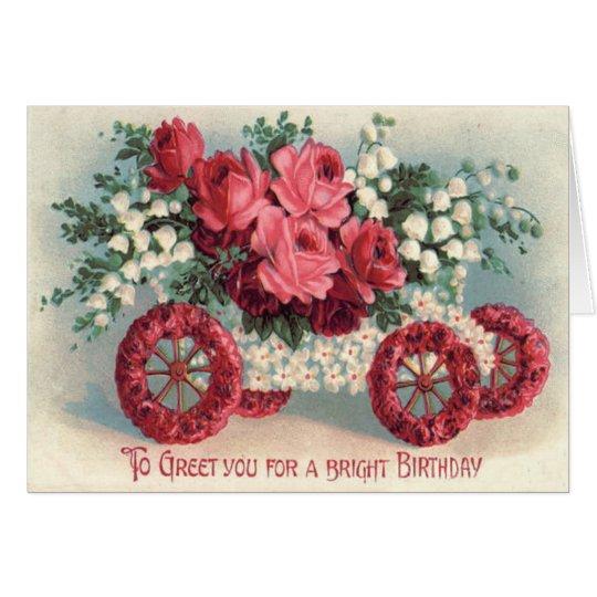 Auto-Rosen-Lilie des Tal-Vergissmeinnichts Grußkarte