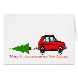 Auto-und Baum Weihnachtsneue Adresse Karte