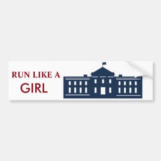 Autoaufkleber Hillary laufen gelassen wie Mädchen
