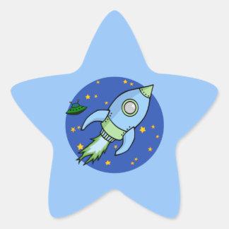 Autocollant d'étoile de vert bleu de Rocket