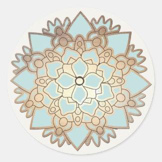 Autocollant élégant de fleur de Lotus de bleu et d