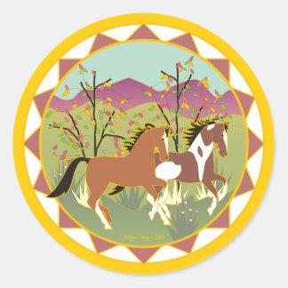 Autocollant espiègle de cheval de peinture de