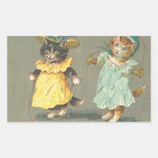autocollant espiègle vintage de chatons