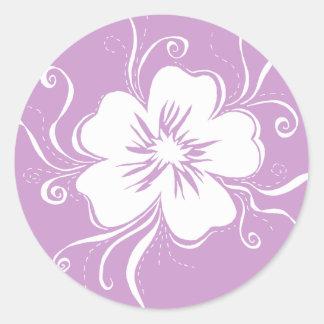 Autocollant espiègle violet de pensée