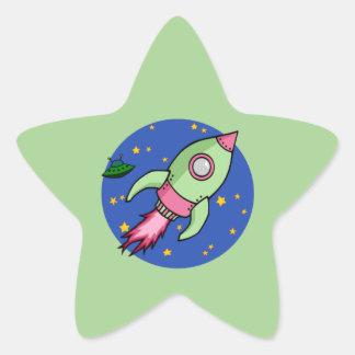 Autocollant vert rose d'étoile de Rocket