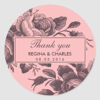 Autocollant vintage de Merci de mariage de rose de