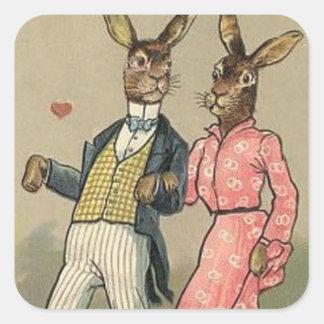 Autocollant vintage de vacances de lapin de Pâques