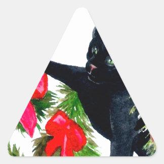 Autocollants espiègles de Noël de chat noir