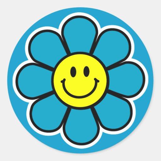 Autocollants souriants de fleur (bleus)