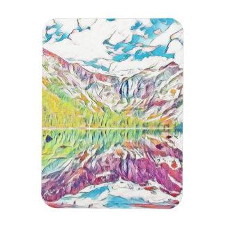 Avalanche See im abstrakten Watercolor Magnet