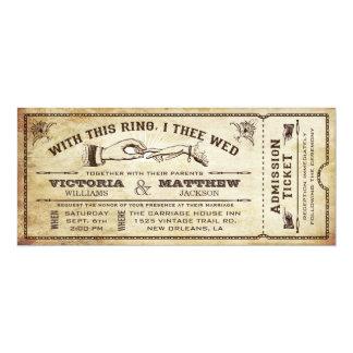 Avec cet anneau, invitation vintage de billet de carton d'invitation  10,16 cm x 23,49 cm