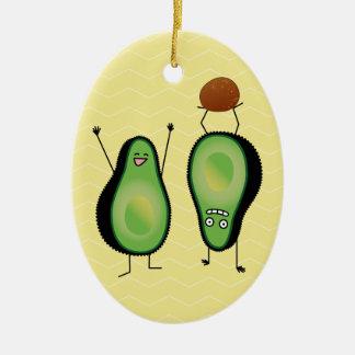 Avocado lustige zujubelnde grüne Grube Handstand Keramik Ornament